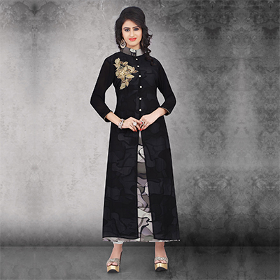 Black Embroidered Work Long Kurti
