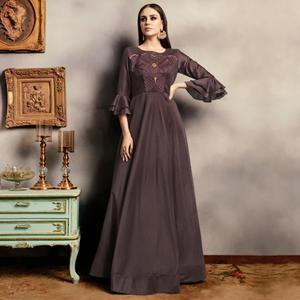 Jazzy Teal Green Colored Party Wear Embroidered Viscose-Cotton Gown
