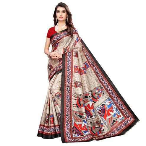 Blissful Beige-Black Colored Casual Wear Printed Art Silk Saree