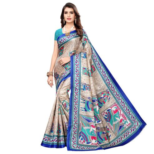 Ideal Beige-Blue Colored Casual Wear Printed Art Silk Saree