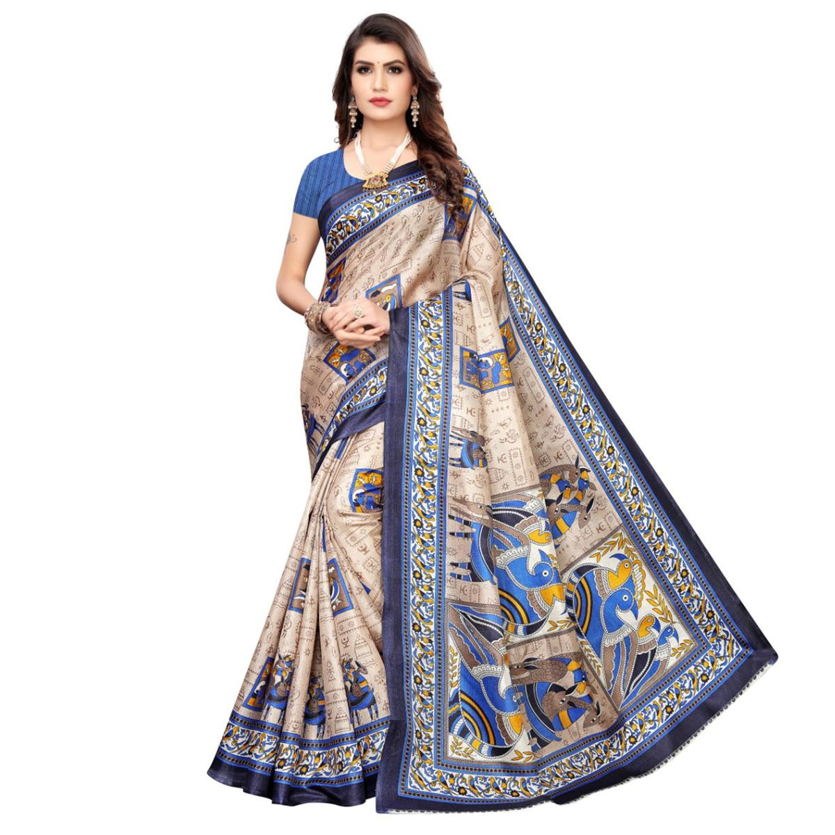 Imposing Beige-Navy Blue Colored Casual Wear Printed Art Silk Saree