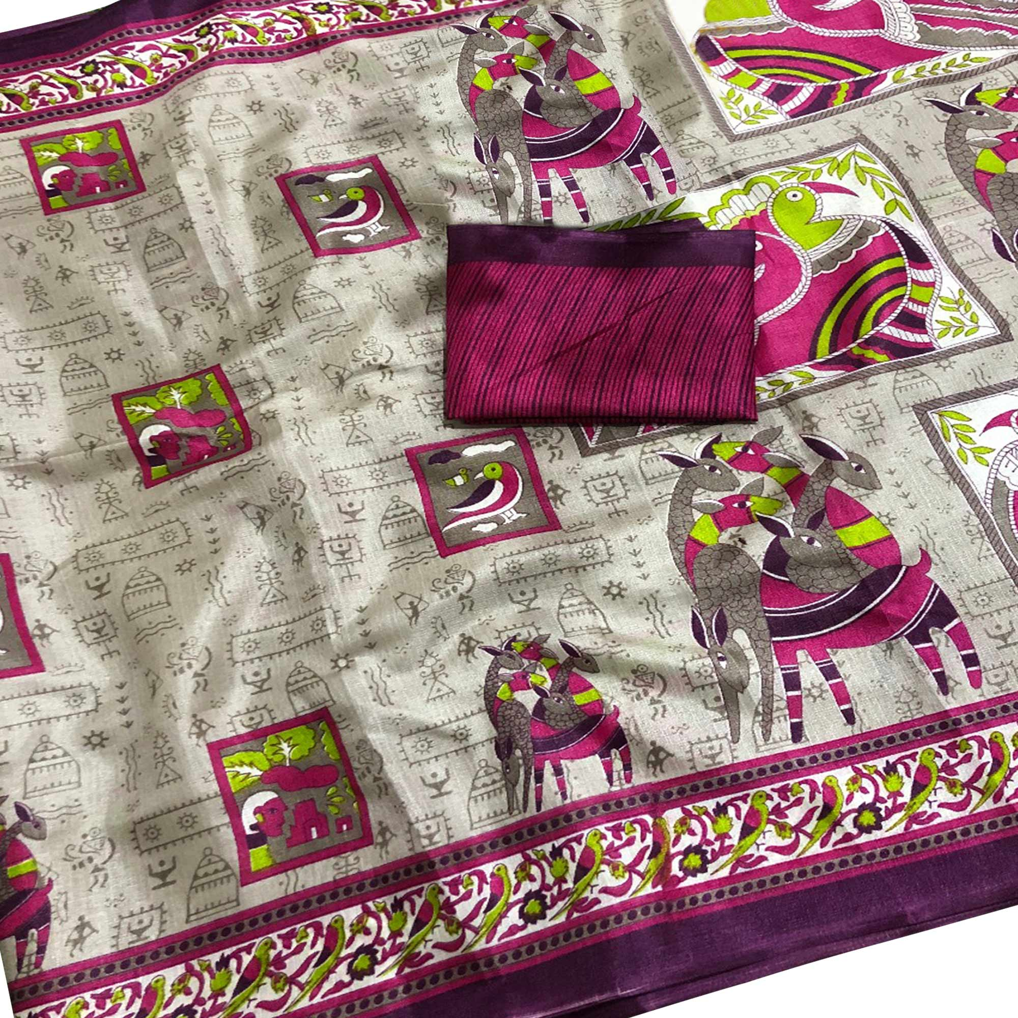Lovely Beige-Wine Colored Casual Wear Printed Art Silk Saree