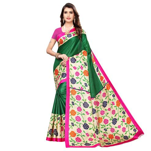 Charming Green Colored Casual Wear Printed Art Silk Saree