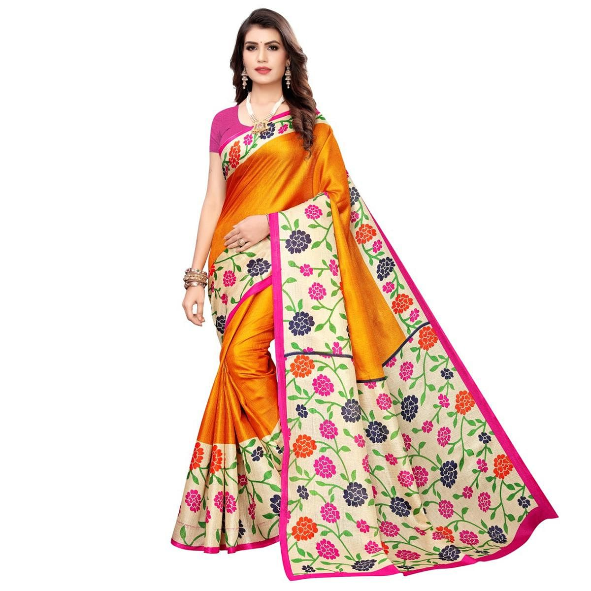 Jazzy Mustard Yellow Colored Casual Wear Printed Art Silk Saree