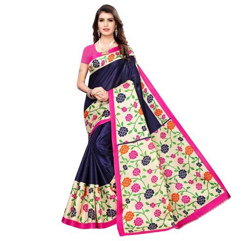 Delightful Navy Blue Colored Casual Wear Printed Art Silk Saree