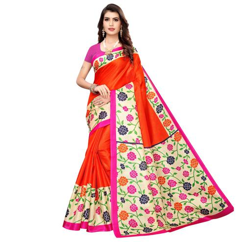 Engrossing Orange Colored Casual Wear Printed Art Silk Saree