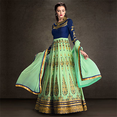 Blue - Pastel Green Anarkali Suit