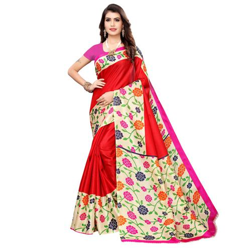 Captivating Red Colored Casual Wear Printed Art Silk Saree