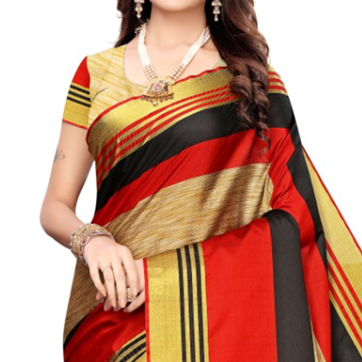 Fantastic Beige-Red Colored Casual Wear Woven Cotton Silk Saree