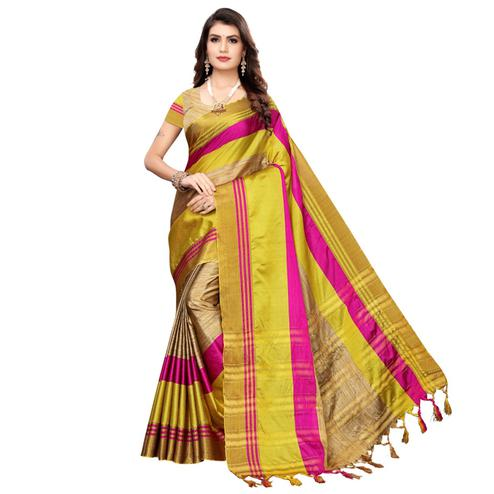 Amazing Beige-Yellow Colored Casual Wear Woven Cotton Silk Saree