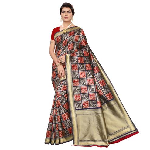 Exclusive Blue-Red Colored Festive Wear Woven Banarasi Silk Saree
