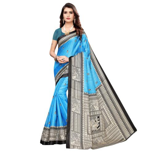 Glorious Sky Blue Colored Casual Wear Printed Art Silk Saree