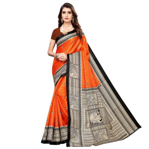 Attractive Orange Colored Casual Wear Printed Art Silk Saree