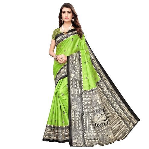 Beautiful Green Colored Casual Wear Printed Art Silk Saree