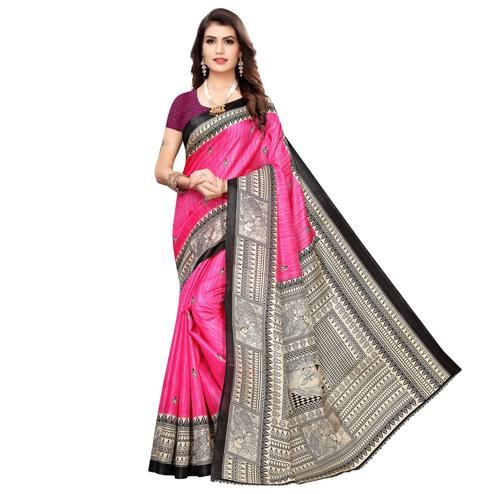 Graceful Pink Colored Casual Wear Printed Art Silk Saree