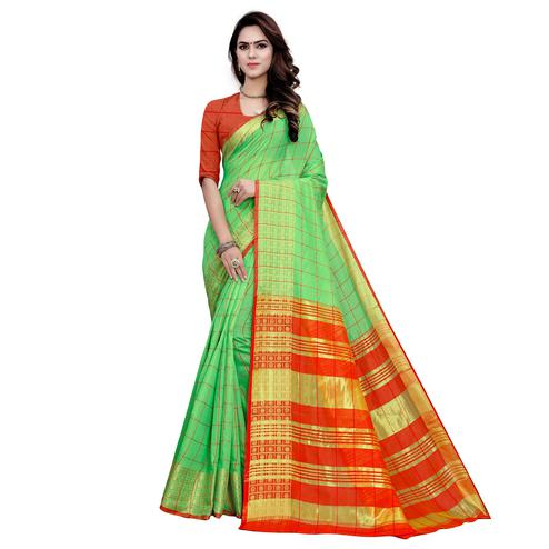 Arresting Green Colored Festive Wear Woven Work Cotton Saree