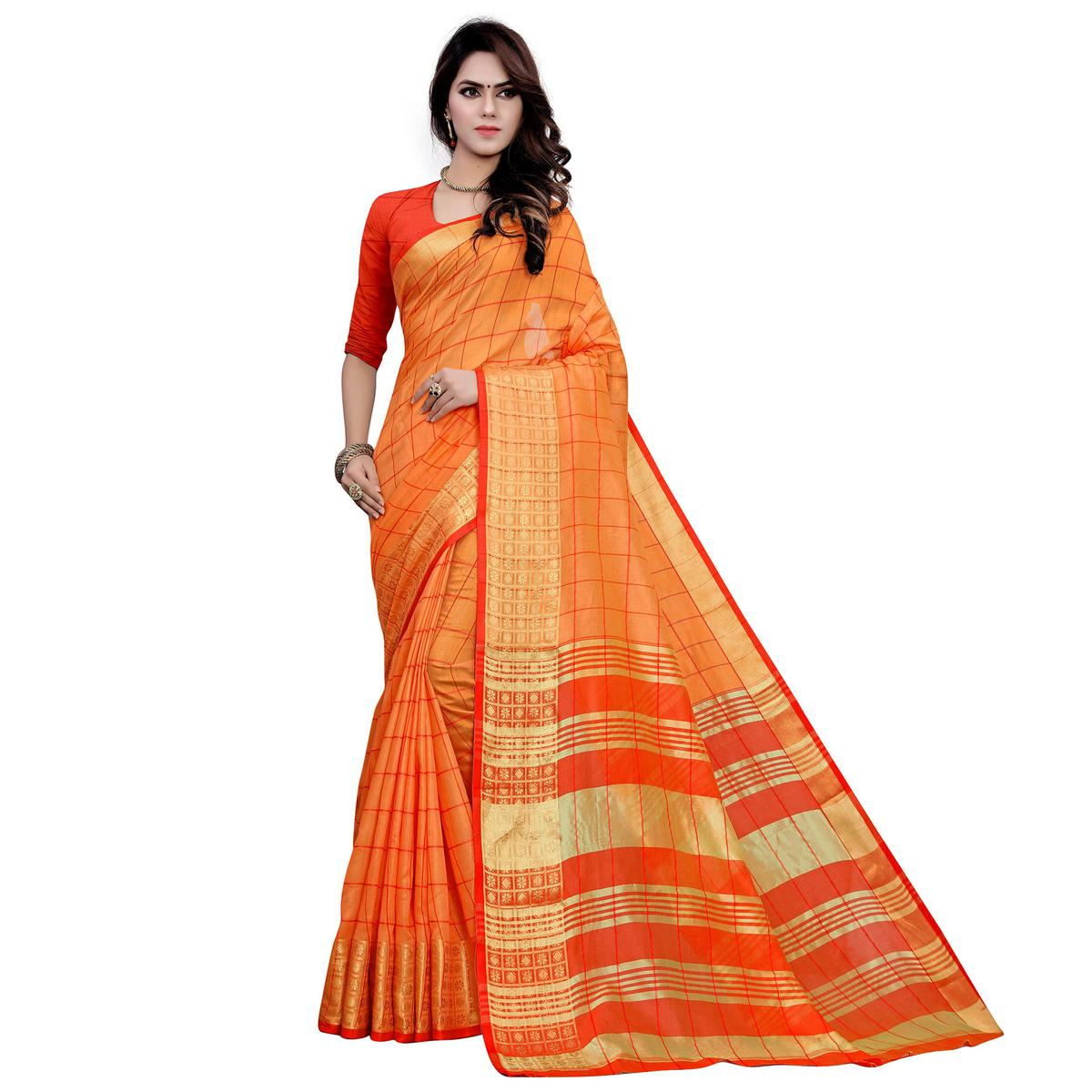 Desirable Orange Colored Festive Wear Woven Work Cotton Saree
