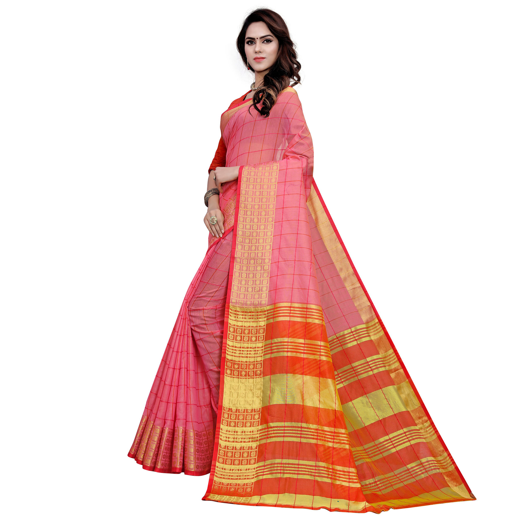 Exotic Pink Colored Festive Wear Woven Work Cotton Saree
