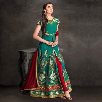Rama Green Front Slit Anarkali Suit