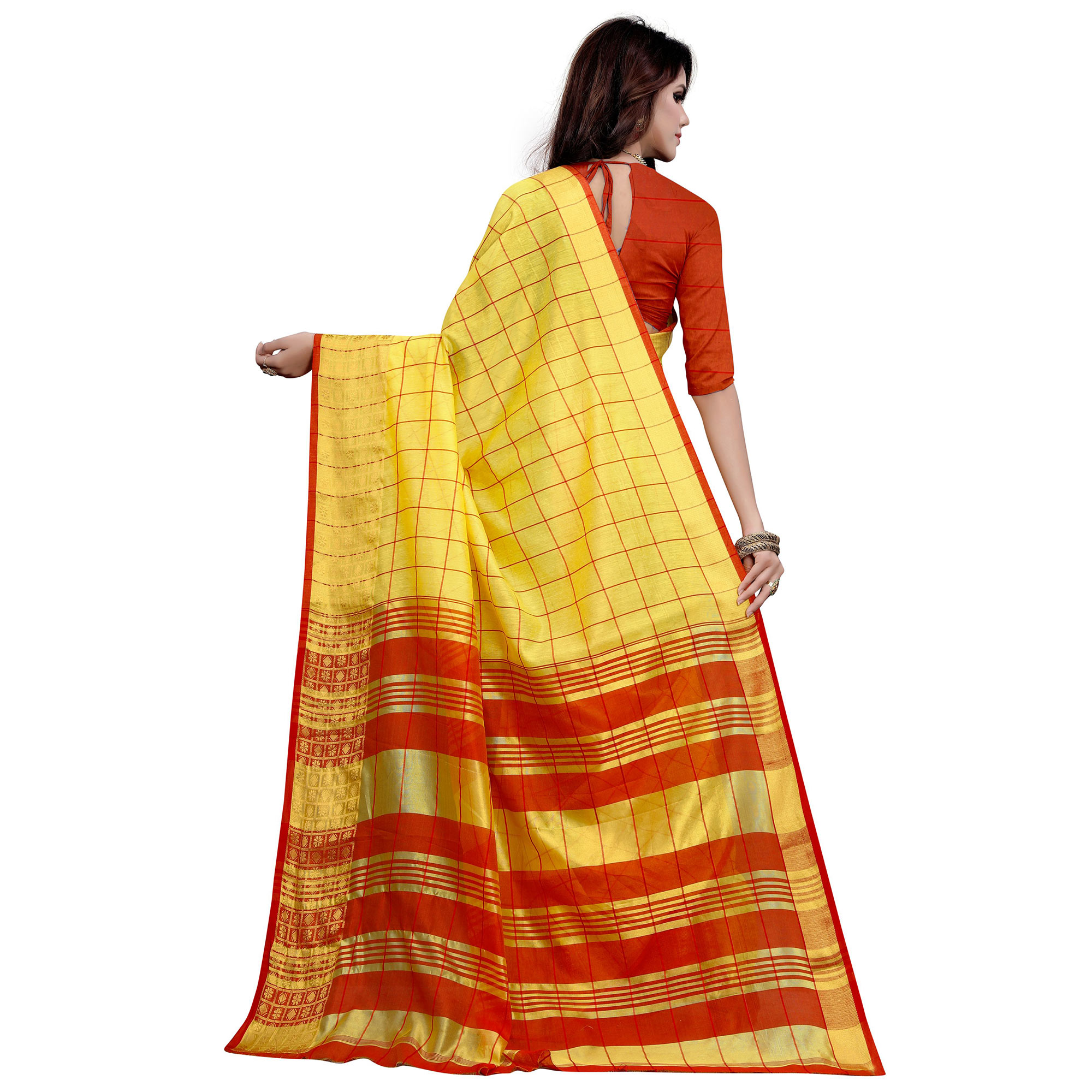Trendy Yellow Colored Festive Wear Woven Work Cotton Saree