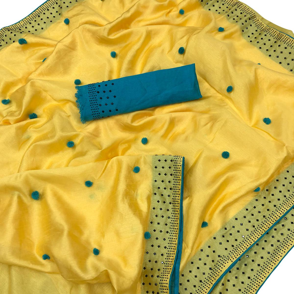 Marvellous Yellow Colored Partywear Embroidered Zoya Silk Saree