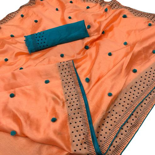 Sensational Peach Colored Partywear Embroidered Zoya Silk Saree