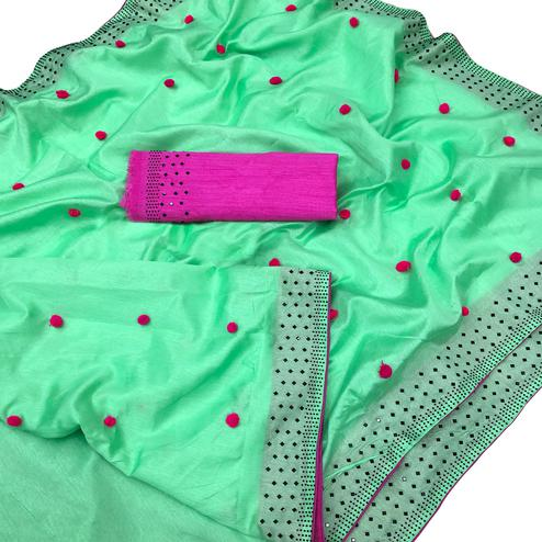 Hypnotic Green Colored Partywear Embroidered Zoya Silk Saree