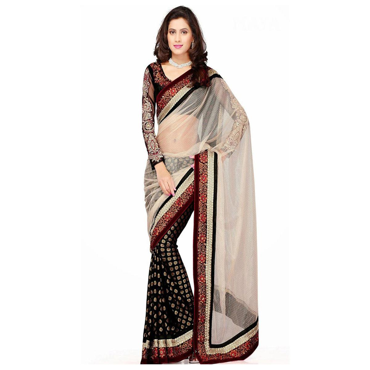 Beige - Brown Foil Work Half Saree