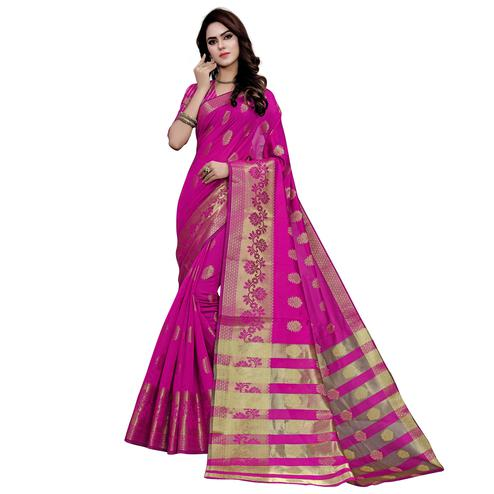Entrancing Dark Pink Colored Festive Wear Woven Work Art Silk Saree