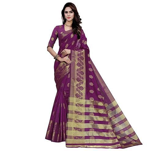Groovy Violet Colored Festive Wear Woven Work Art Silk Saree