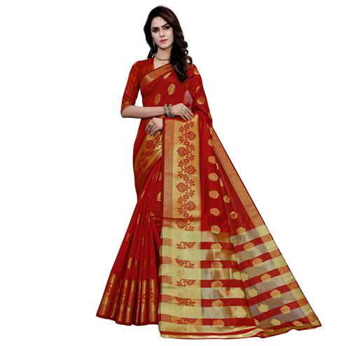 Exclusive Red Colored Festive Wear Woven Work Art Silk Saree