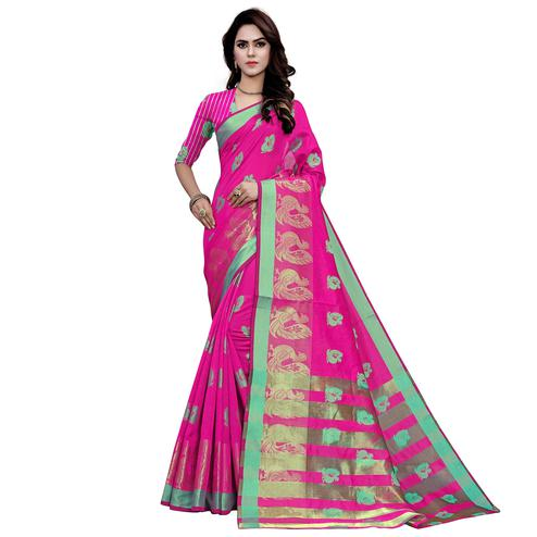 Charming Pink Colored Festive Wear Woven Work Art Silk Saree
