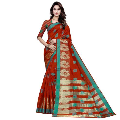 Engrossing Red Colored Festive Wear Woven Work Art Silk Saree