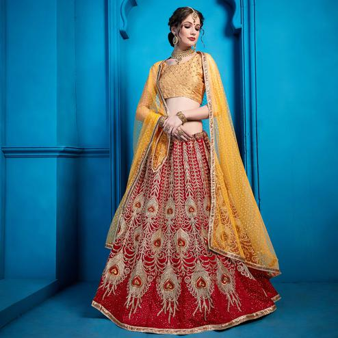 Alluring Maroon Colored Partywear Embroidered Art Silk Lehenga Choli