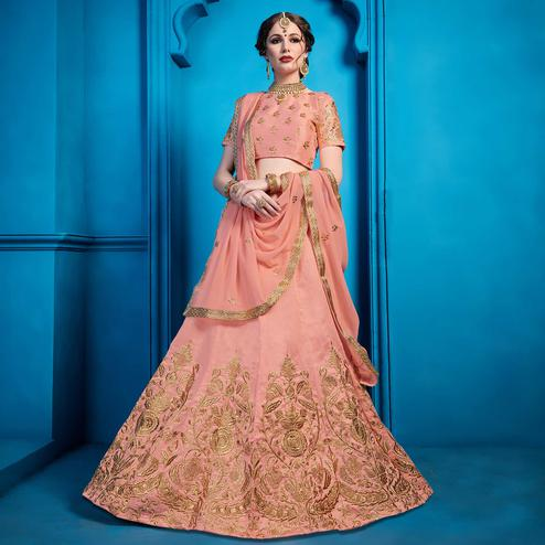 Preferable Peach Colored Partywear Embroidered Art Silk Lehenga Choli