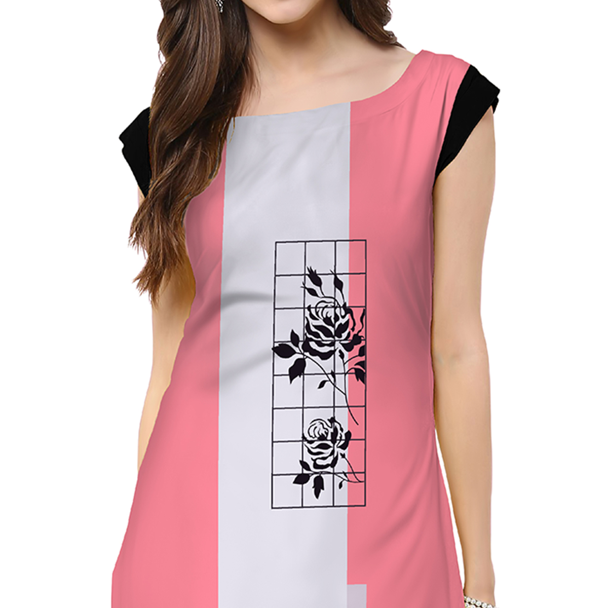 Jazzy Light Pink Colored Casual Printed Crepe Kurti