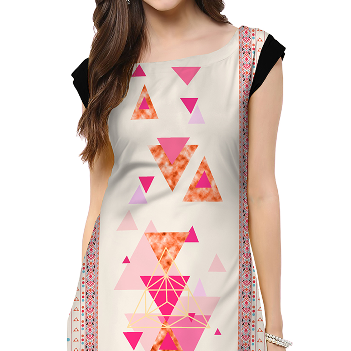 Delightful Off White Colored Casual Printed Crepe Kurti