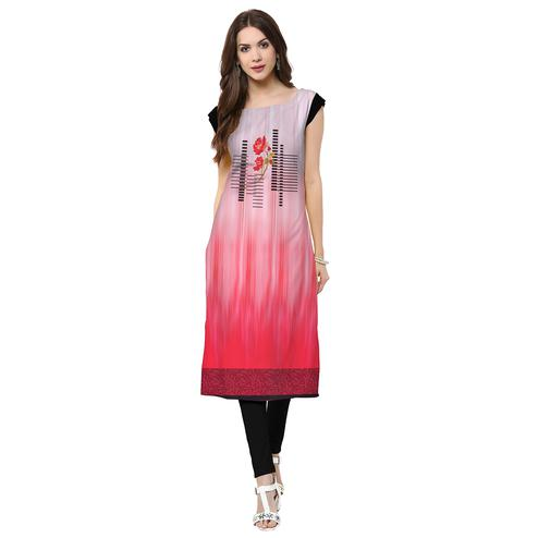 Engrossing Pink Colored Casual Printed Crepe Kurti