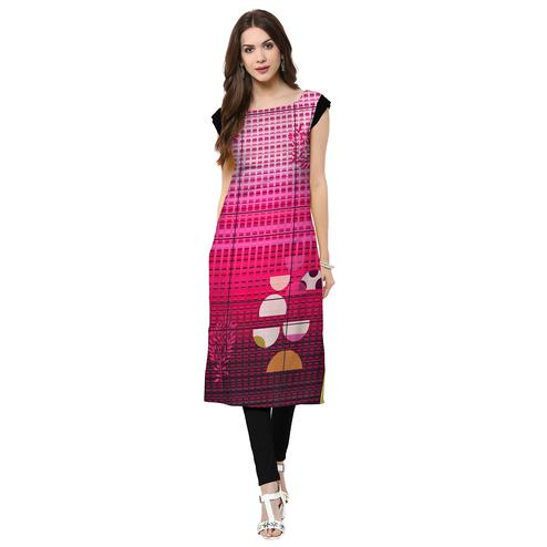 Captivating Dark Pink Colored Casual Printed Crepe Kurti
