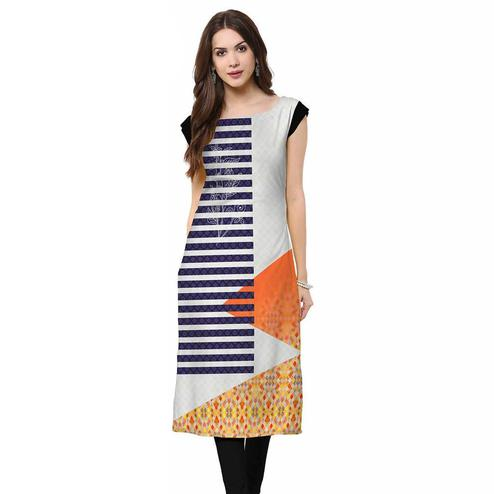 Innovative Grey-Blue Colored Casual Printed Crepe Kurti