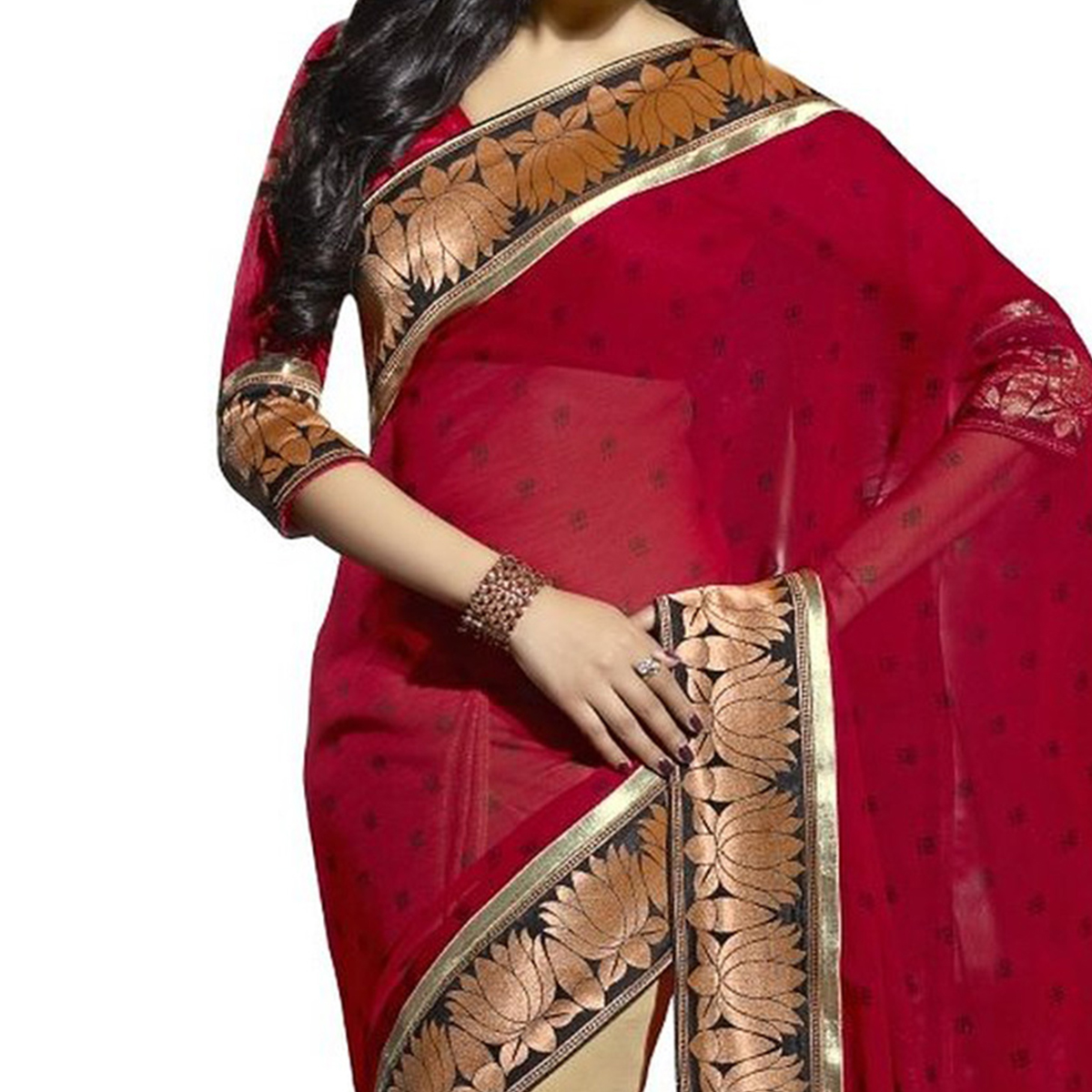 Red - Beige Georgette Half Saree