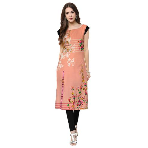 Eye-catching Peach Colored Casual Printed Crepe Kurti