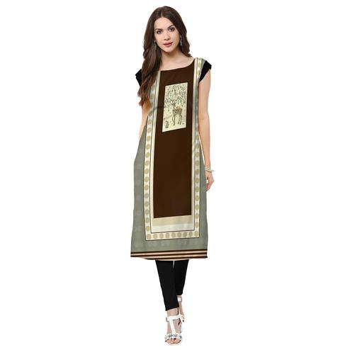 Fantastic Grey-Brown Colored Casual Printed Crepe Kurti