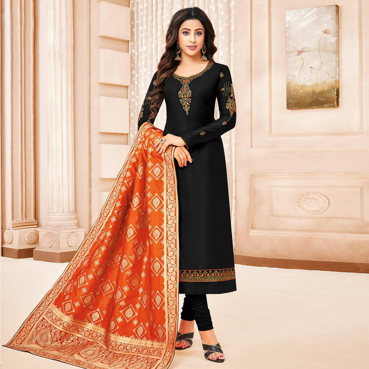 Adorable Black Colored Party Wear Embroidered Cotton Silk Salwar Suit