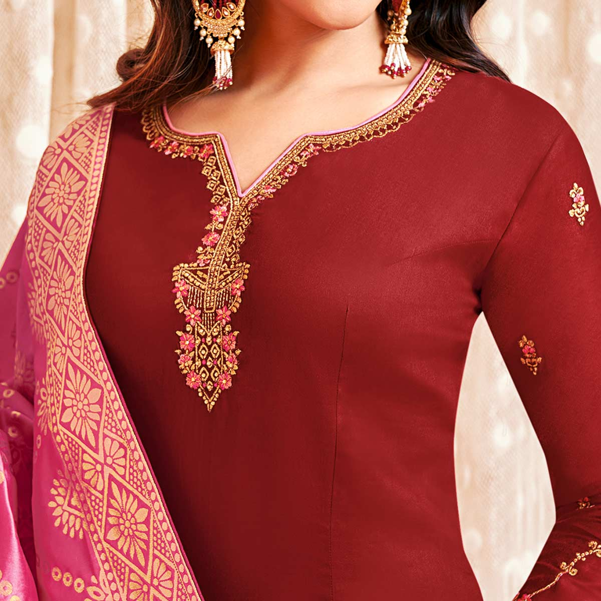 Glorious Red Colored Party Wear Embroidered Cotton Silk Salwar Suit