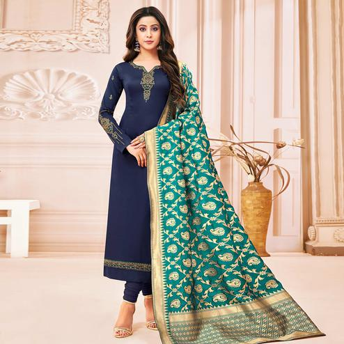 Attractive Navy Blue Colored Party Wear Embroidered Cotton Silk Salwar Suit