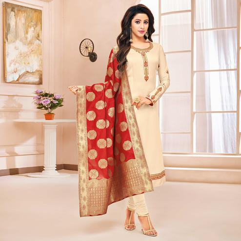 Beautiful Cream Colored Party Wear Embroidered Cotton Silk Salwar Suit