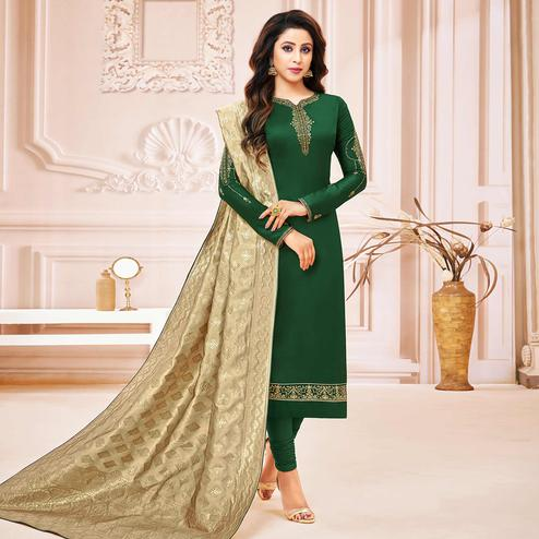 Graceful Bottle Green Colored Party Wear Embroidered Cotton Silk Salwar Suit