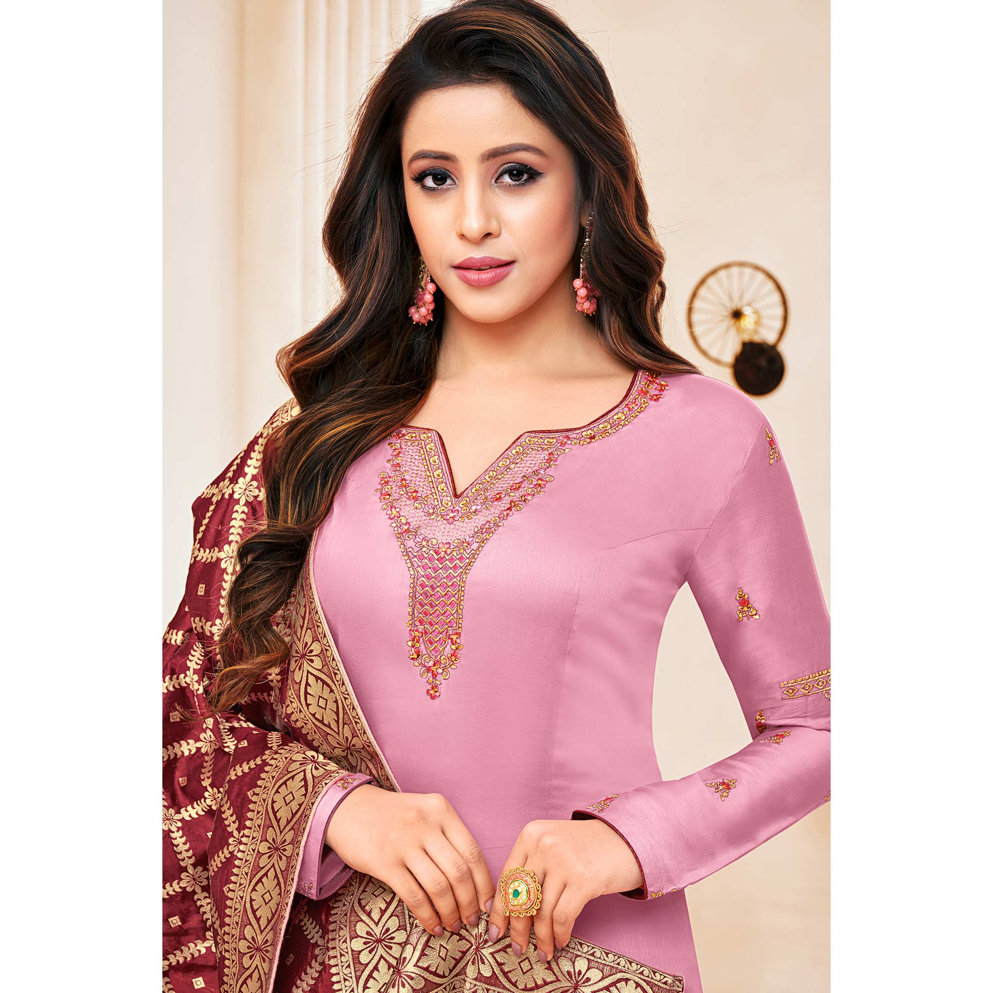 Blooming Light Purple Colored Party Wear Embroidered Cotton Silk Salwar Suit