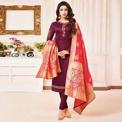 Jazzy Wine Colored Party Wear Embroidered Cotton Silk Salwar Suit